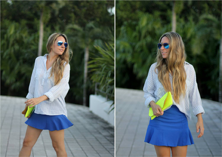 Cobalt skirt blogger