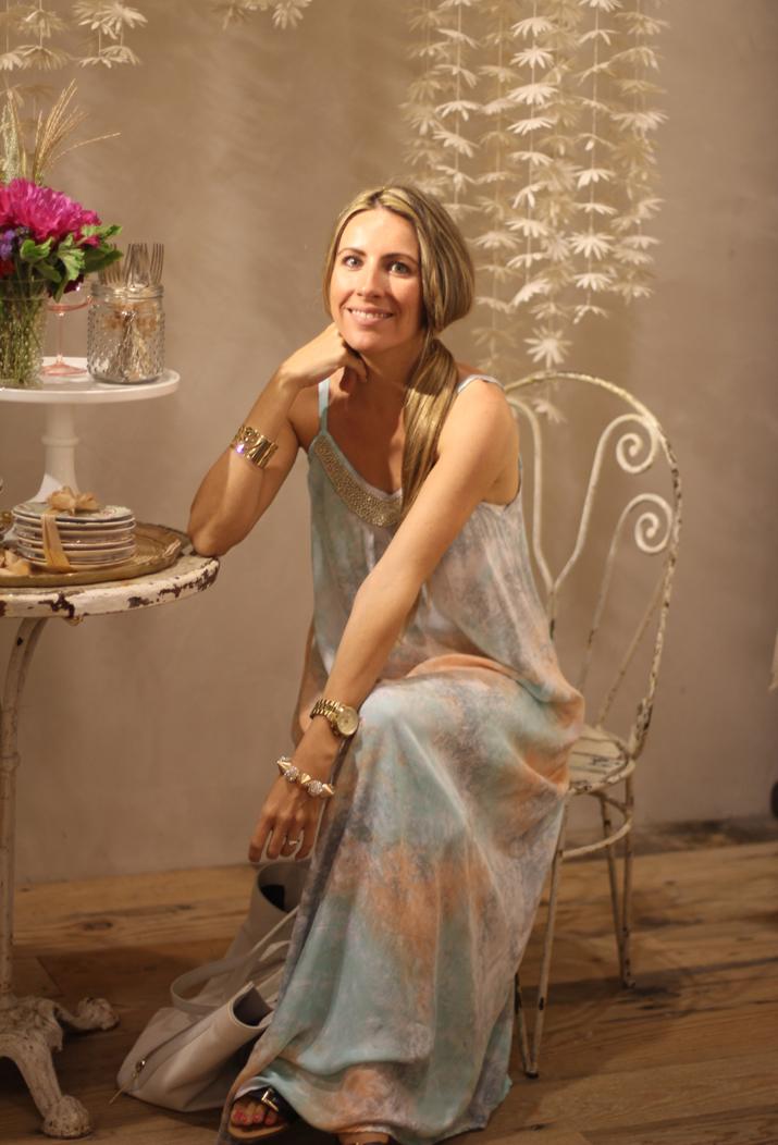 Fashion blogger in California wearing long dress