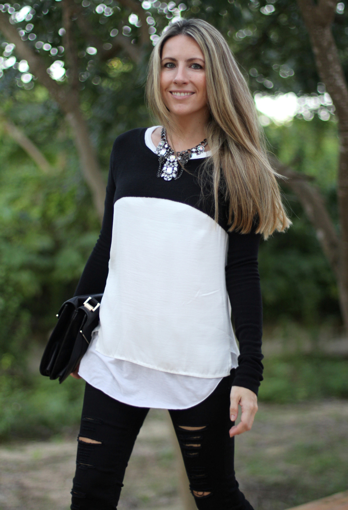 Layering cropped sweater fashion blogger Monica Sors