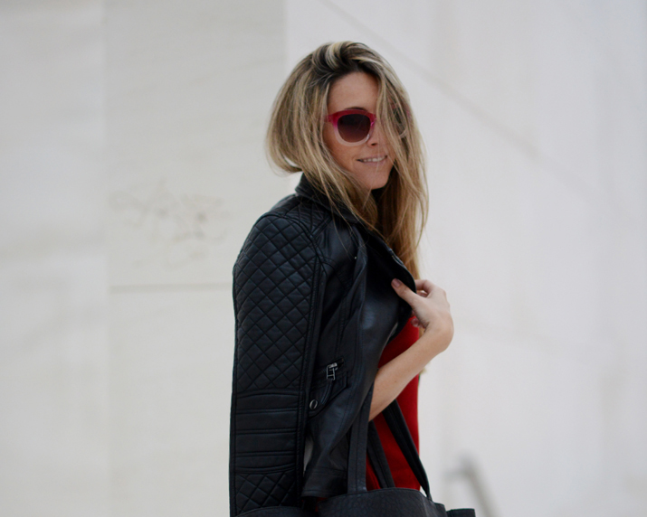 Monica Sors street style perfecto jacket