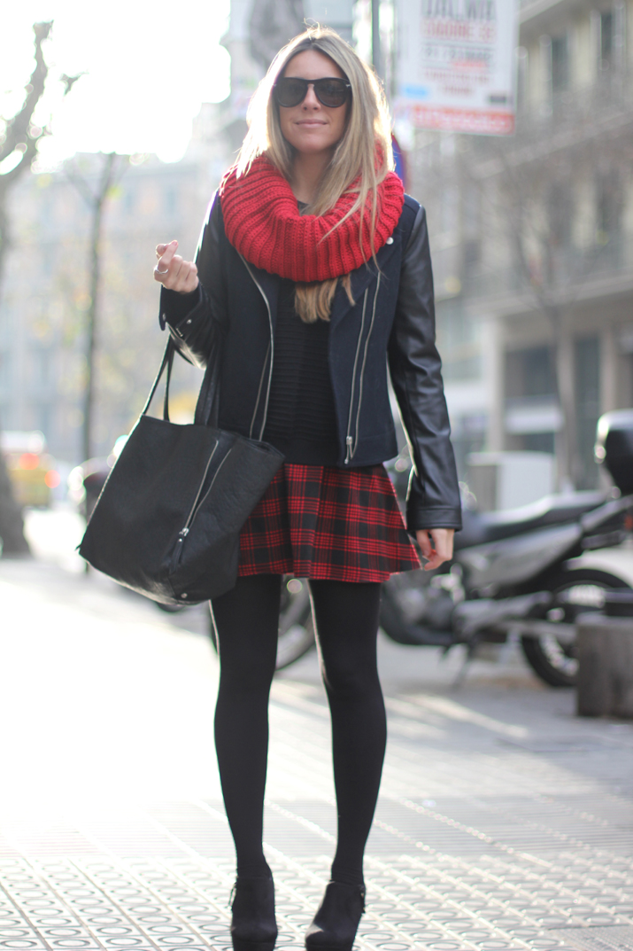 Monica Sors red tartan skirt