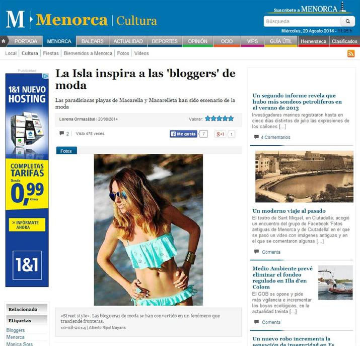 DIARIO MENORCA MONICA SORS BLOGGER