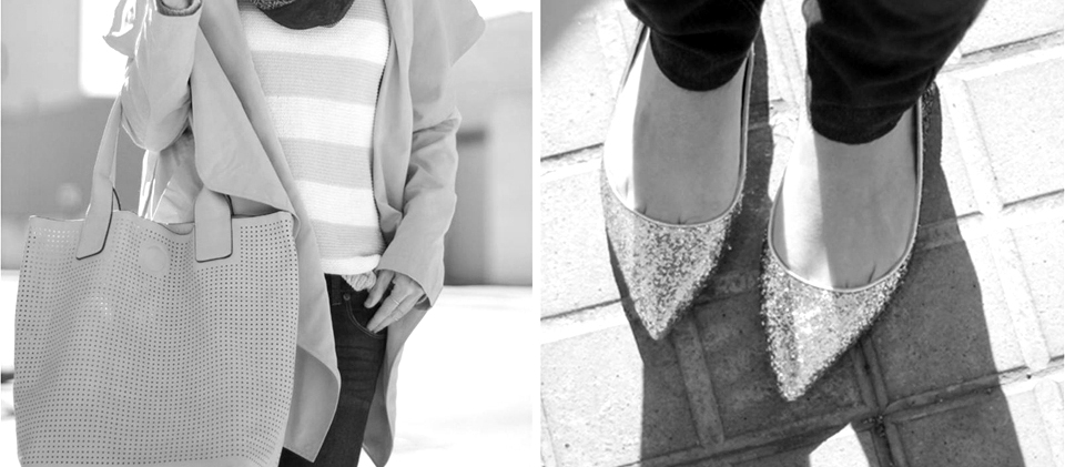 PERFORATED BAG AND GLITTER FLATS | CASUAL SPRING