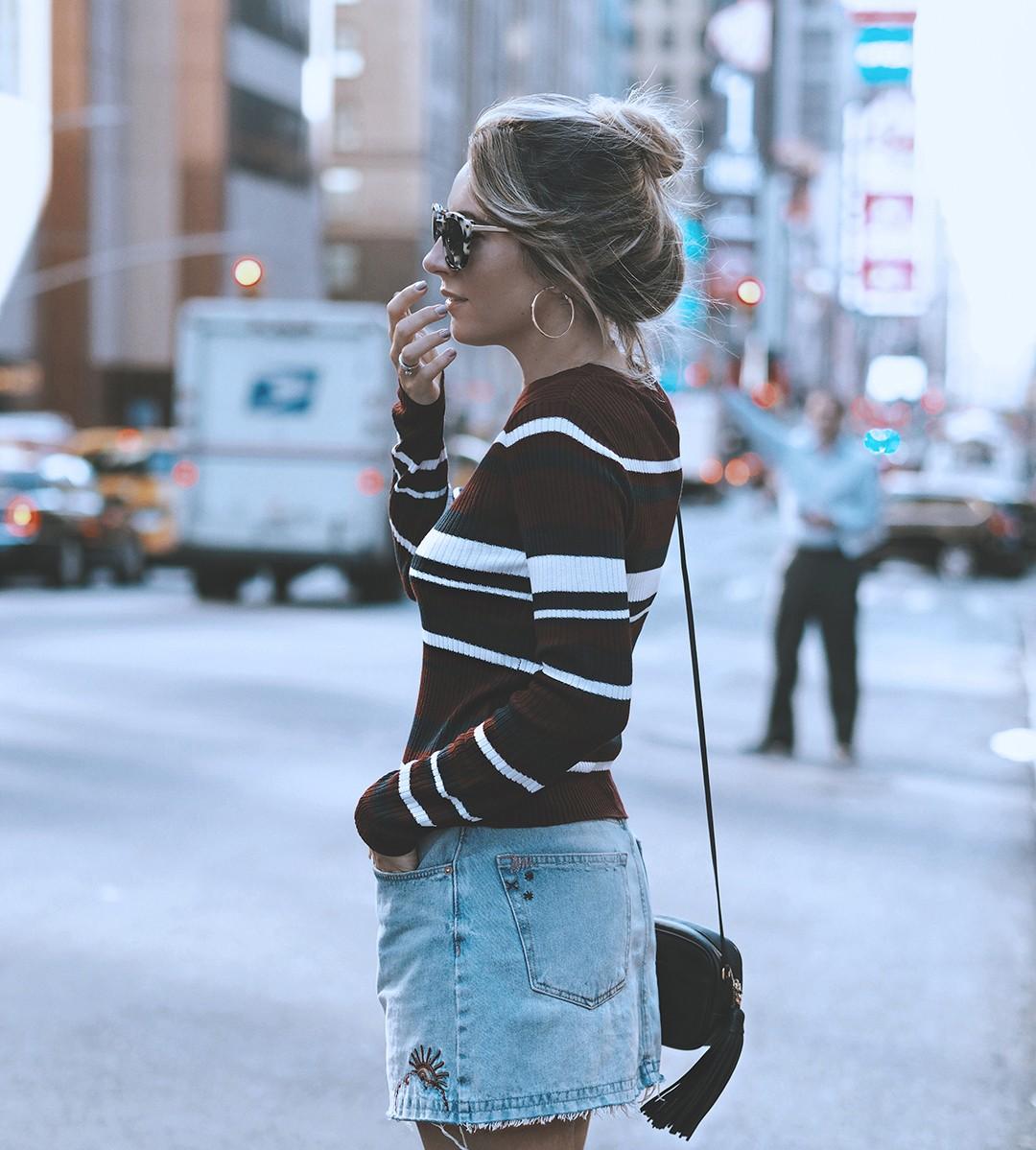 nyfw-street-style-september-2016-fashion-blogger-denim-skirt-knit-sweater-2016