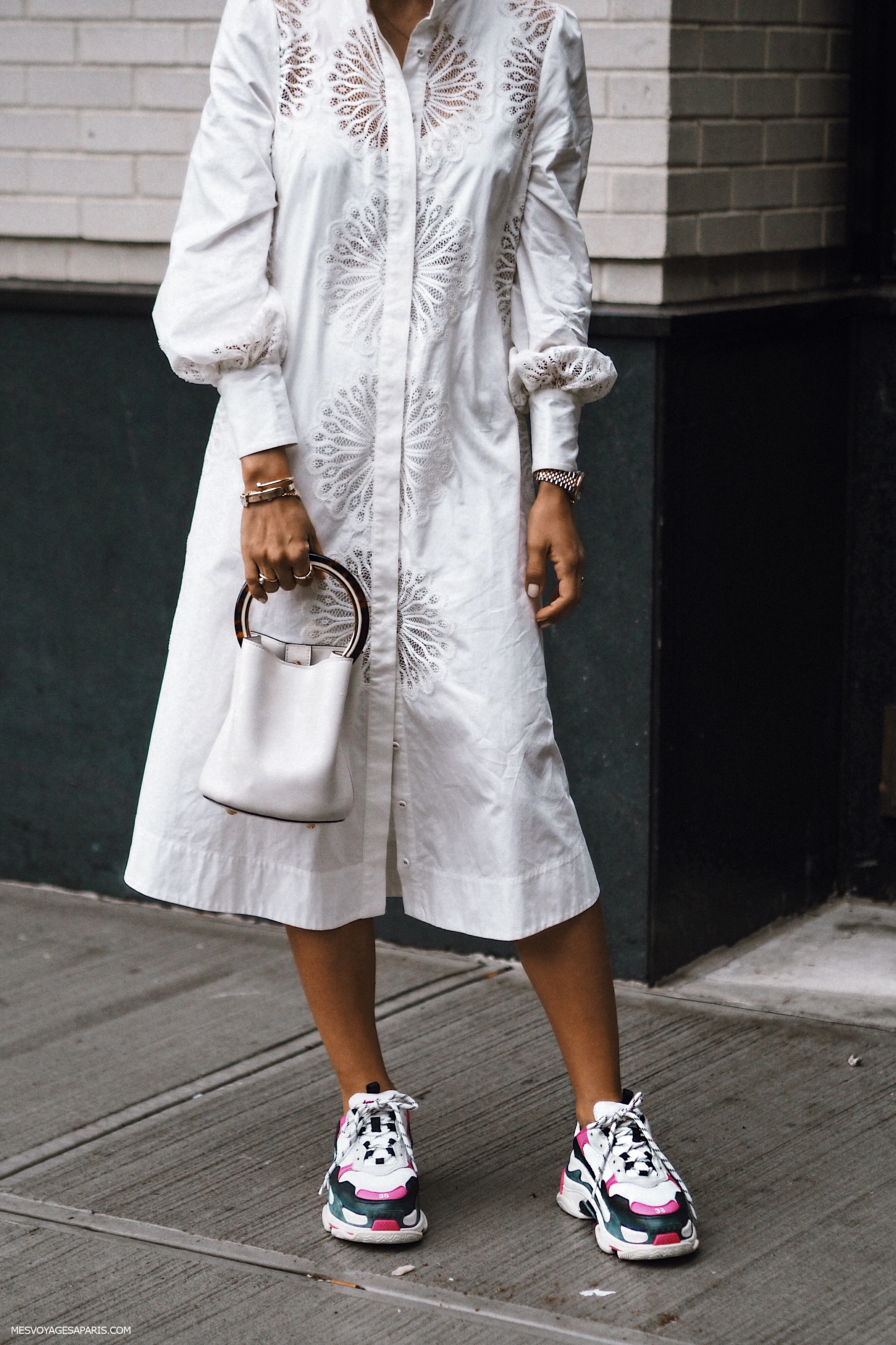 NYFW Street Style September 2018 white looks Tamara sneakers