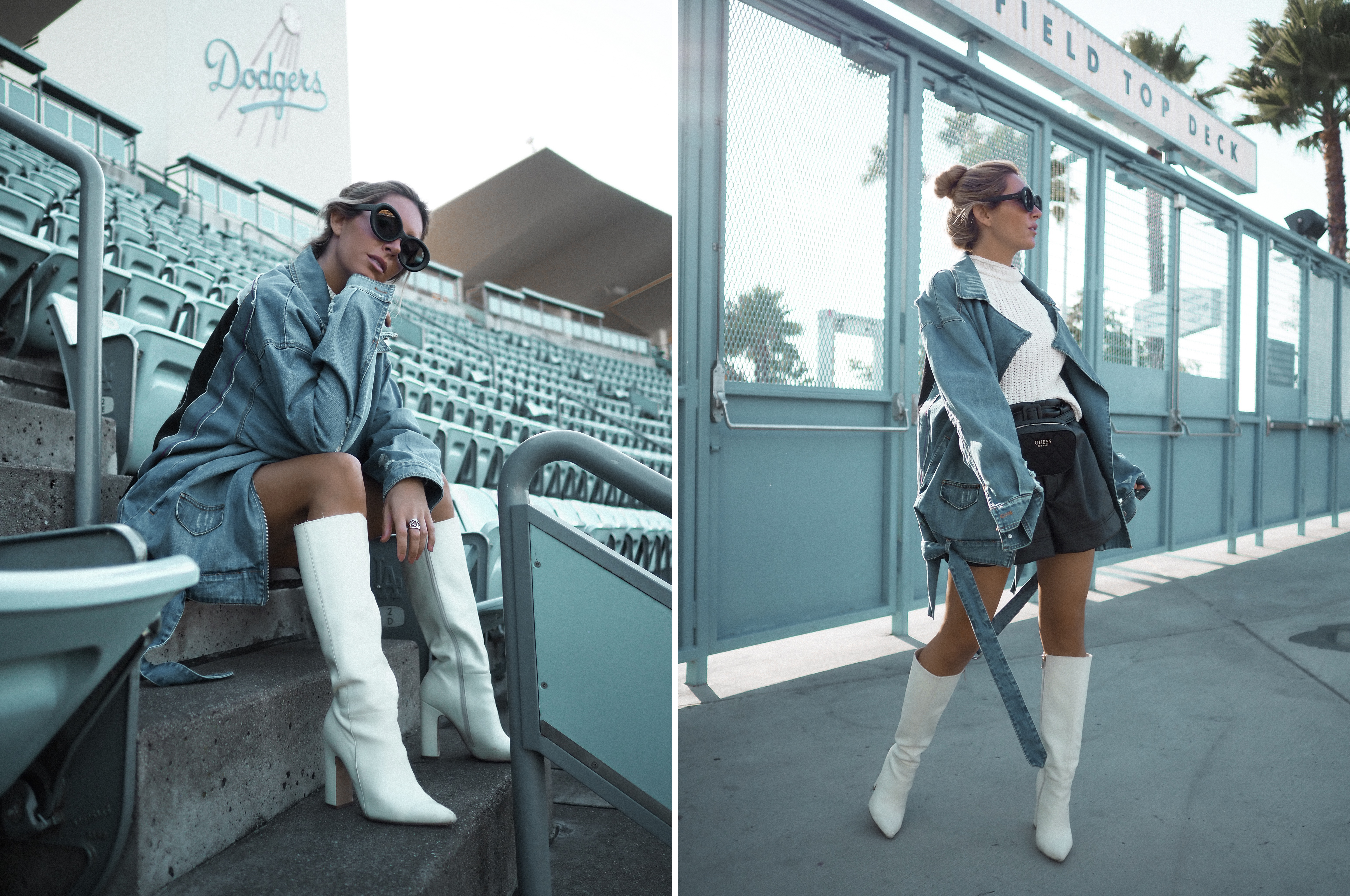 boyfriend denim jacket by Monica Sors at Dodger Stadium