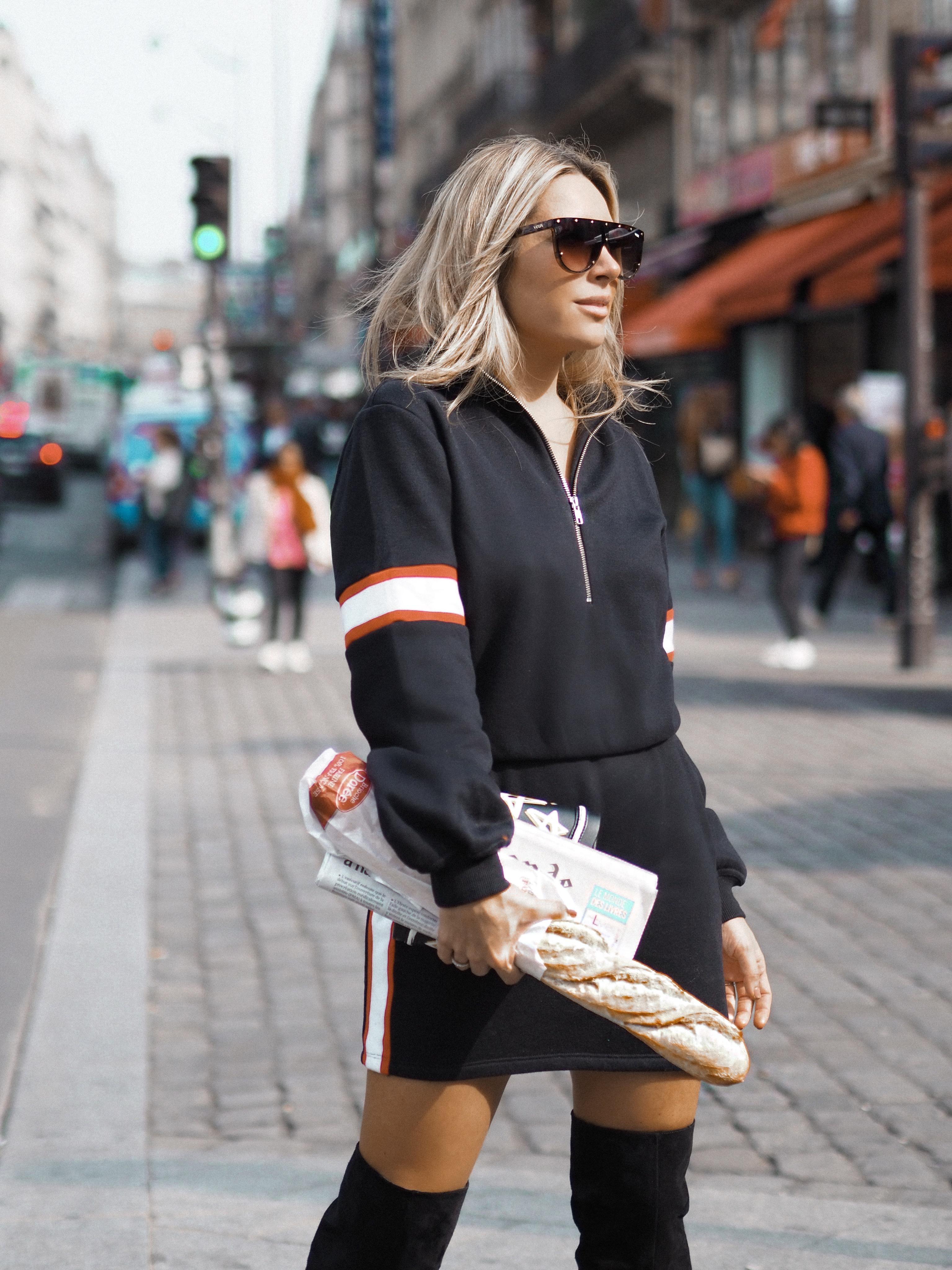 sweater dress Paris fashion week street style looks