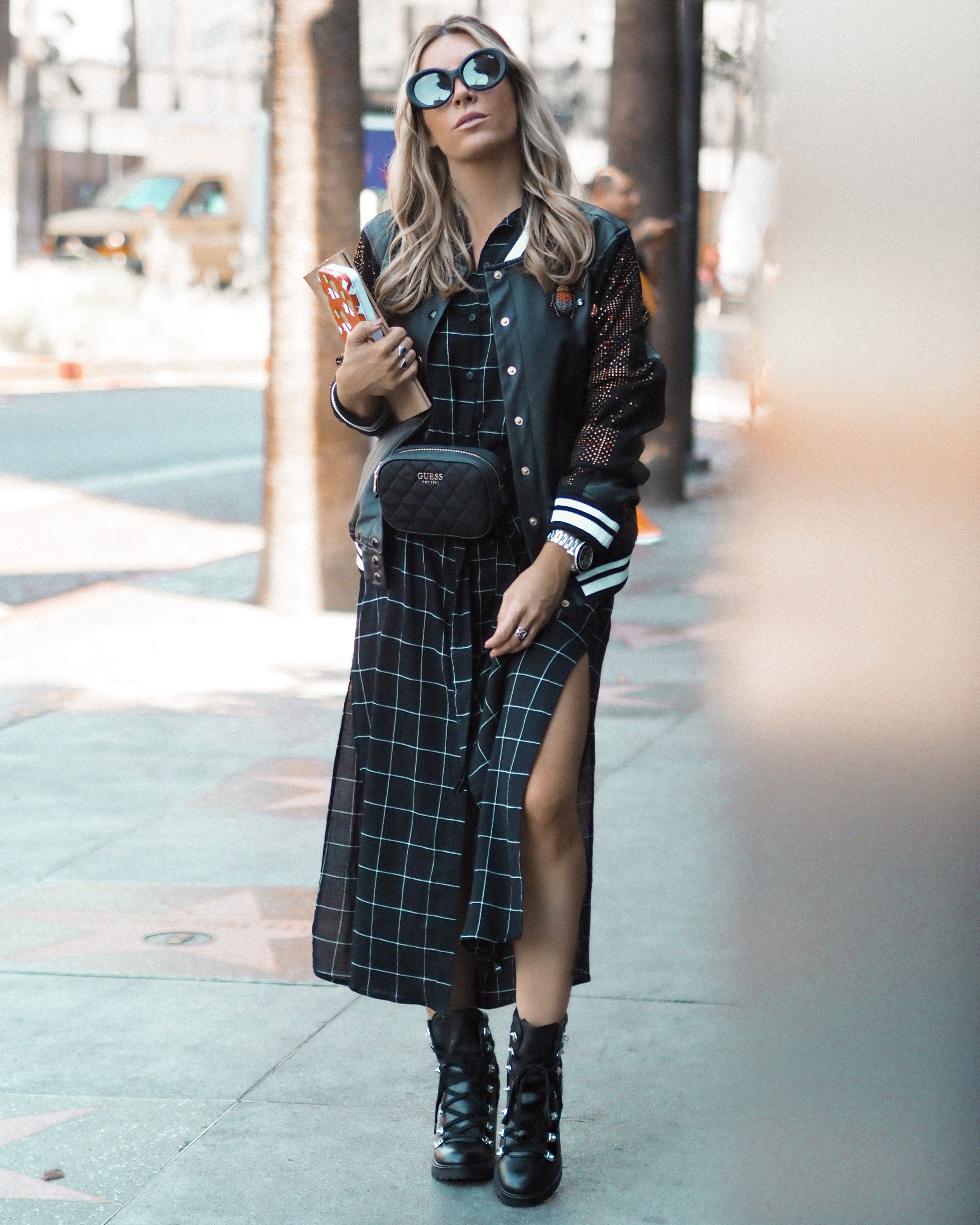 checked dress fashion blogger Los Angeles 2018