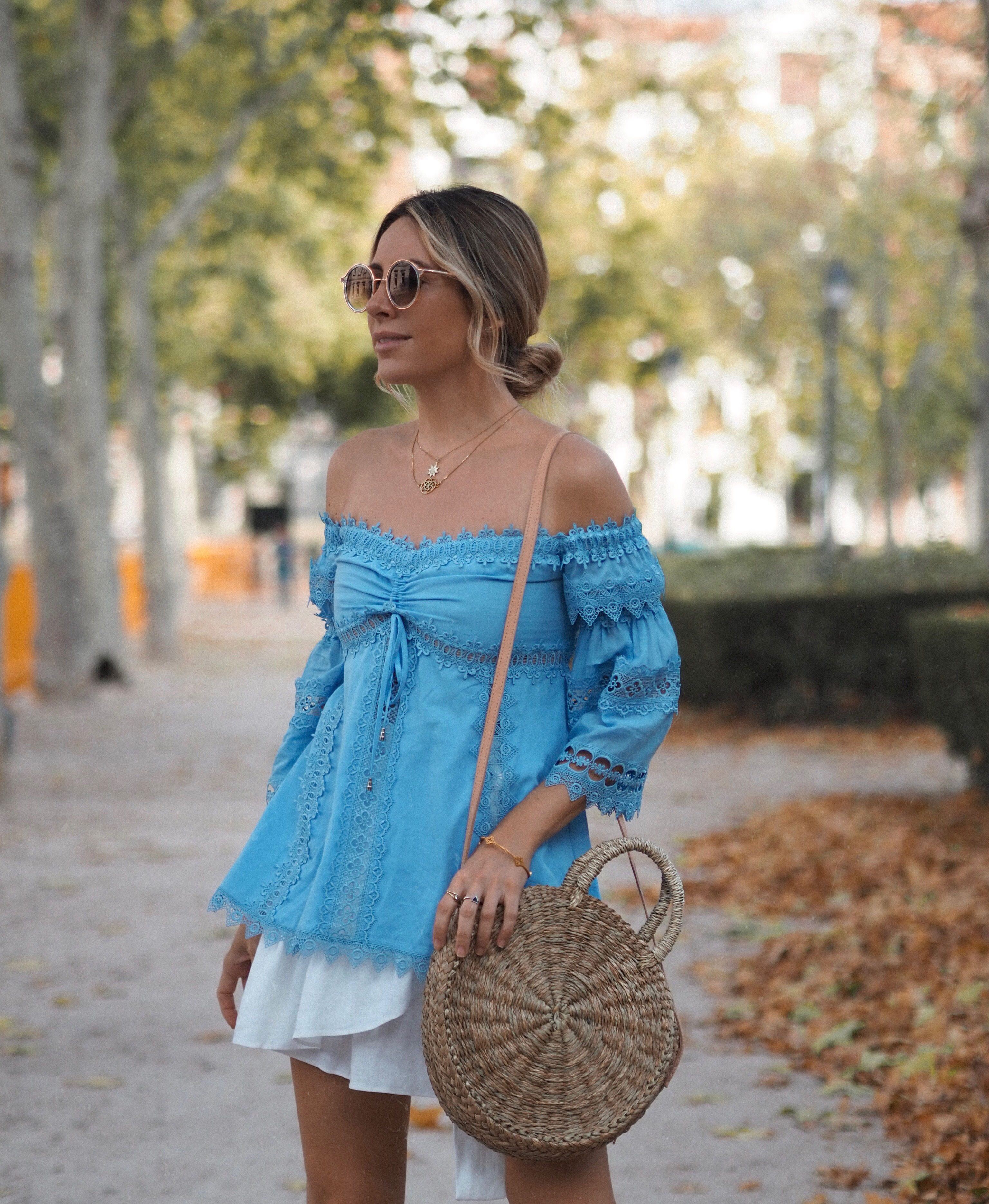 Off the shoulder top and messy bun